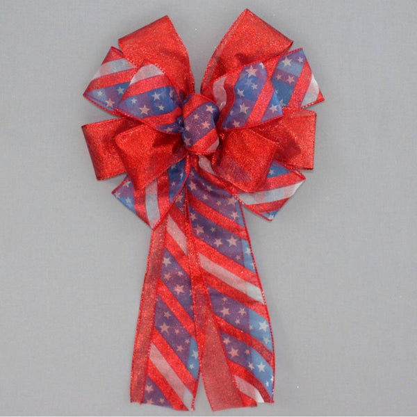 Patriotic Metallic Stars Stripe Wreath Bow