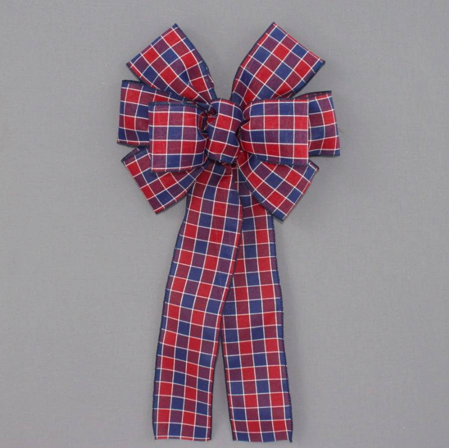 Patriotic Plaid Wreath Bow - Package Perfect Bows
