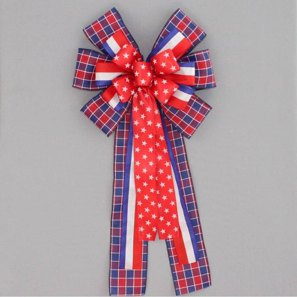 Patritoic Star Stripe Plaid Wreath Bow