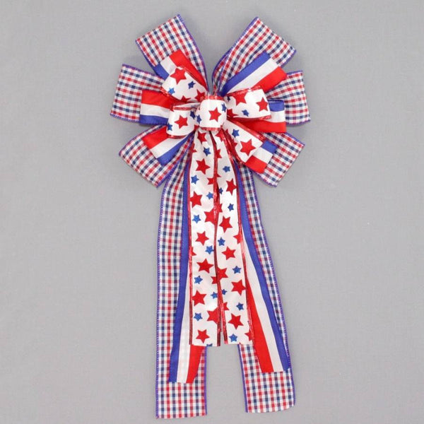 Patritoic Star Plaid Wreath Bow