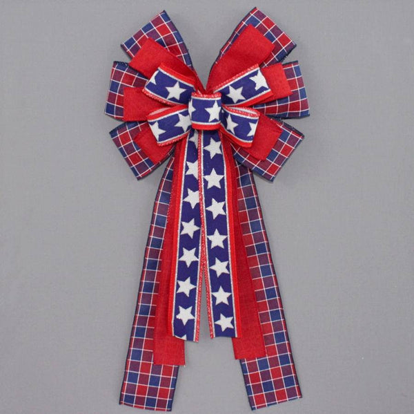 Patriotic Plaid Stars Wreath Bow