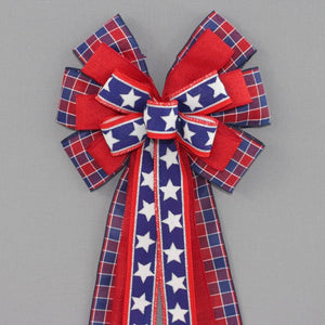 Patriotic Plaid Stars Wreath Bow - Package Perfect Bows
