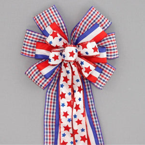 Patriotic Star Plaid Wreath Bow - Package Perfect Bows