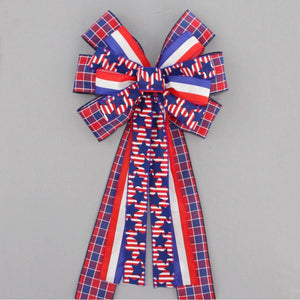 Patriotic Plaid Stars Stripe Wreath Bow - Package Perfect Bows