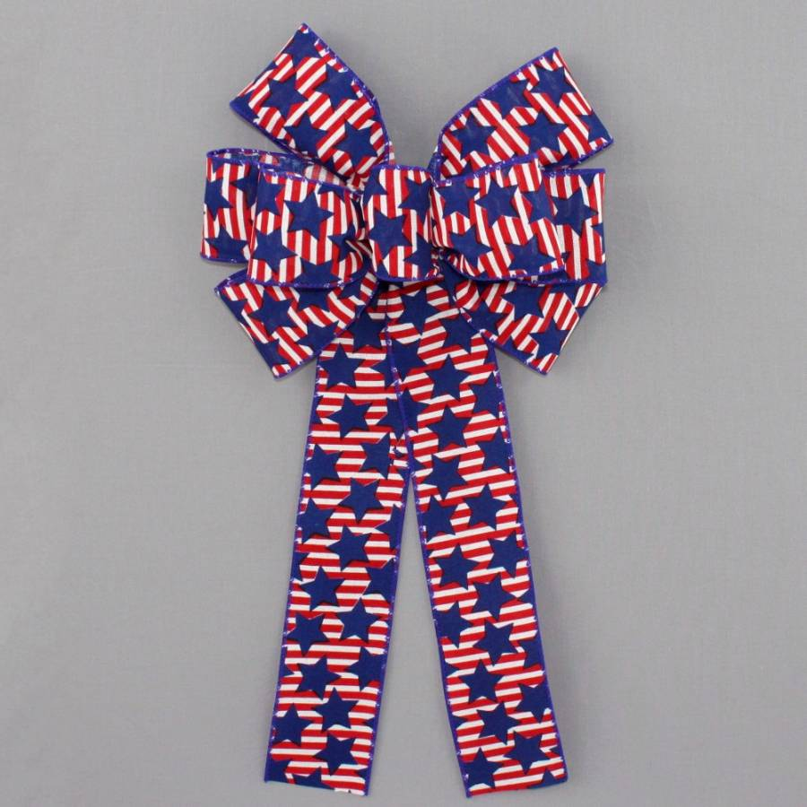 Patriotic Stars Stripes Wire Edge Bow - Package Perfect Bows