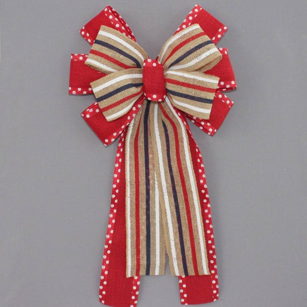 Patriotic Burlap Stripe Dot Wreath Bow