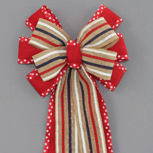 Patriotic Burlap Stripe Dot Wreath Bow - Package Perfect Bows