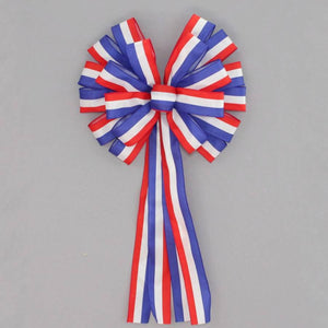 Patriotic Stripe Wreath Bow - Package Perfect Bows