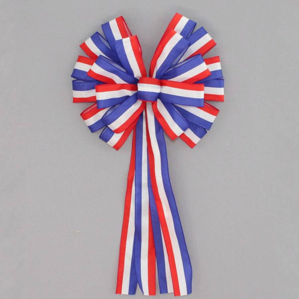 Patriotic Stripe Wreath Bow