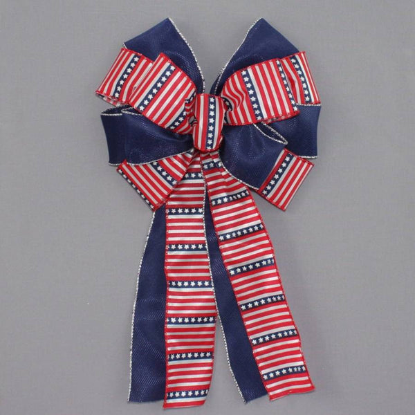Stars Stripes Patriotic Wreath Bow