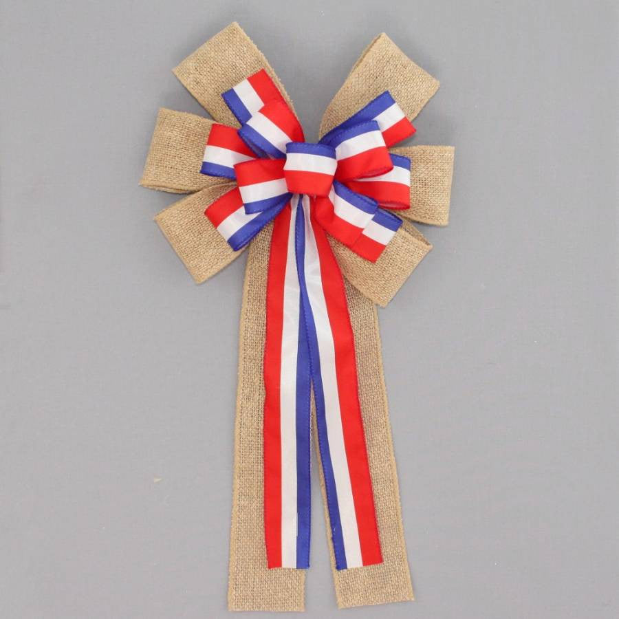 Patriotic Stripe Burlap Wreath Bow