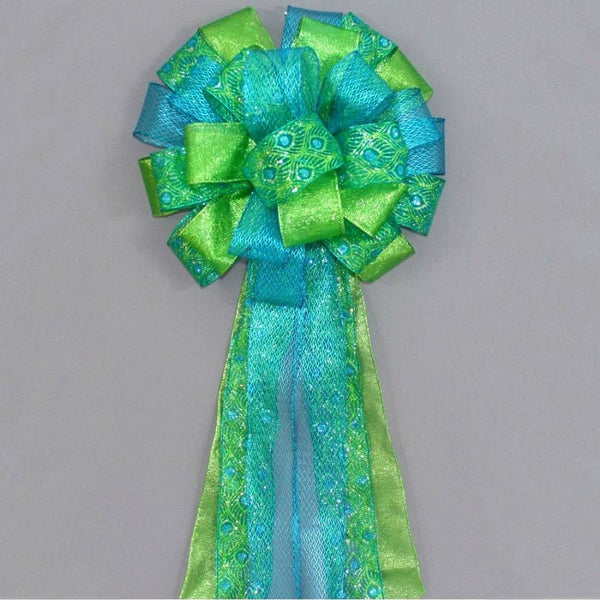 Peacock Sparkle Christmas Tree Topper Bow - Package Perfect Bows - 1