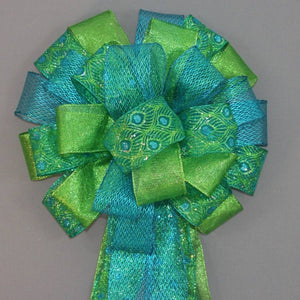 Peacock Sparkle Christmas Tree Topper Bow - Package Perfect Bows