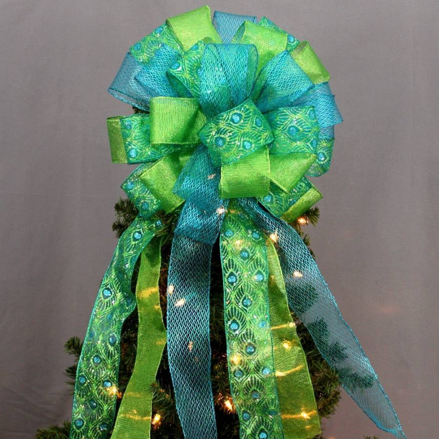 Peacock Sparkle Christmas Tree Topper Bow - Package Perfect Bows - 4