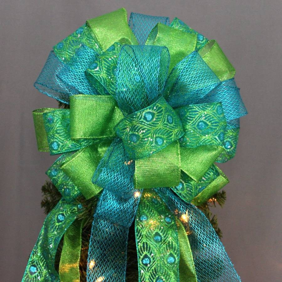 peacock sparkle christmas tree topper bow package perfect bows - Peacock Christmas Tree Topper