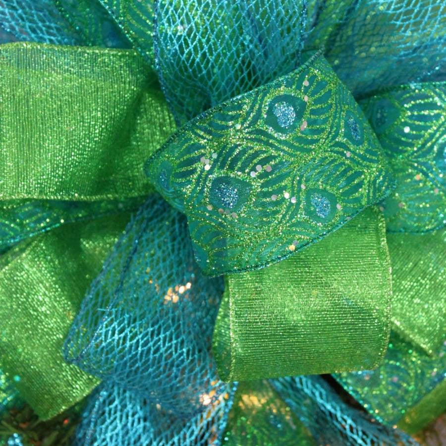 Peacock Sparkle Christmas Tree Topper Bow - Package Perfect Bows - 5