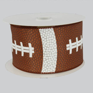 "2.5"" Football Pigskin Wire Edge Ribbon (10 Yards) - Package Perfect Bows"
