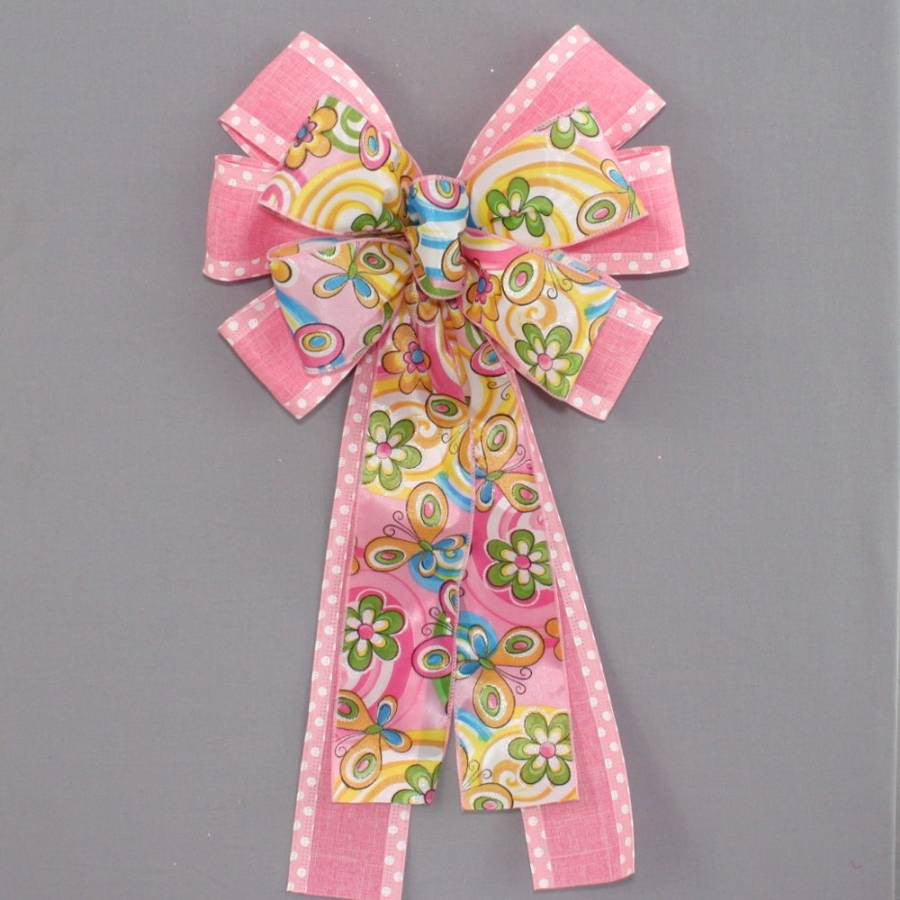 Pink Dot Floral Butterfly Spring Bow