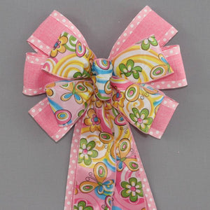 Pink Dot Floral Butterfly Spring Bow - Package Perfect Bows