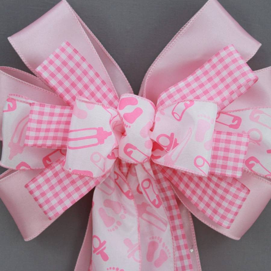 Pink Baby Feet Girl Baby Shower Bow - Package Perfect Bows - 2