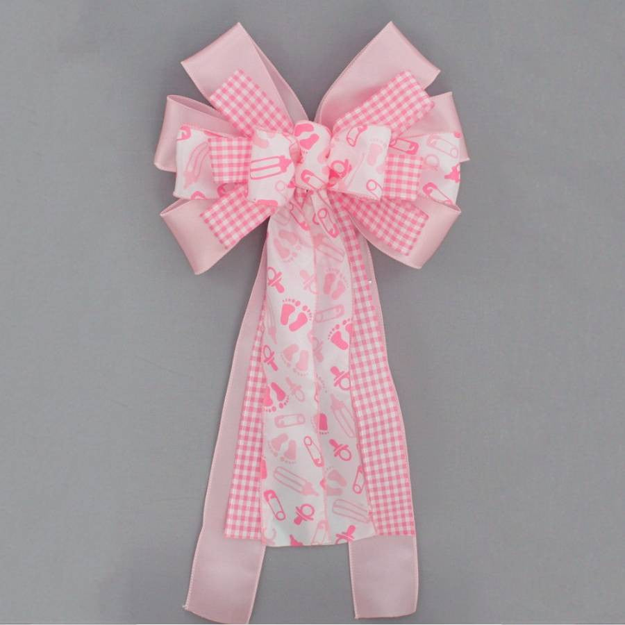 Pink Baby Feet Girl Baby Shower Bow - Package Perfect Bows - 3