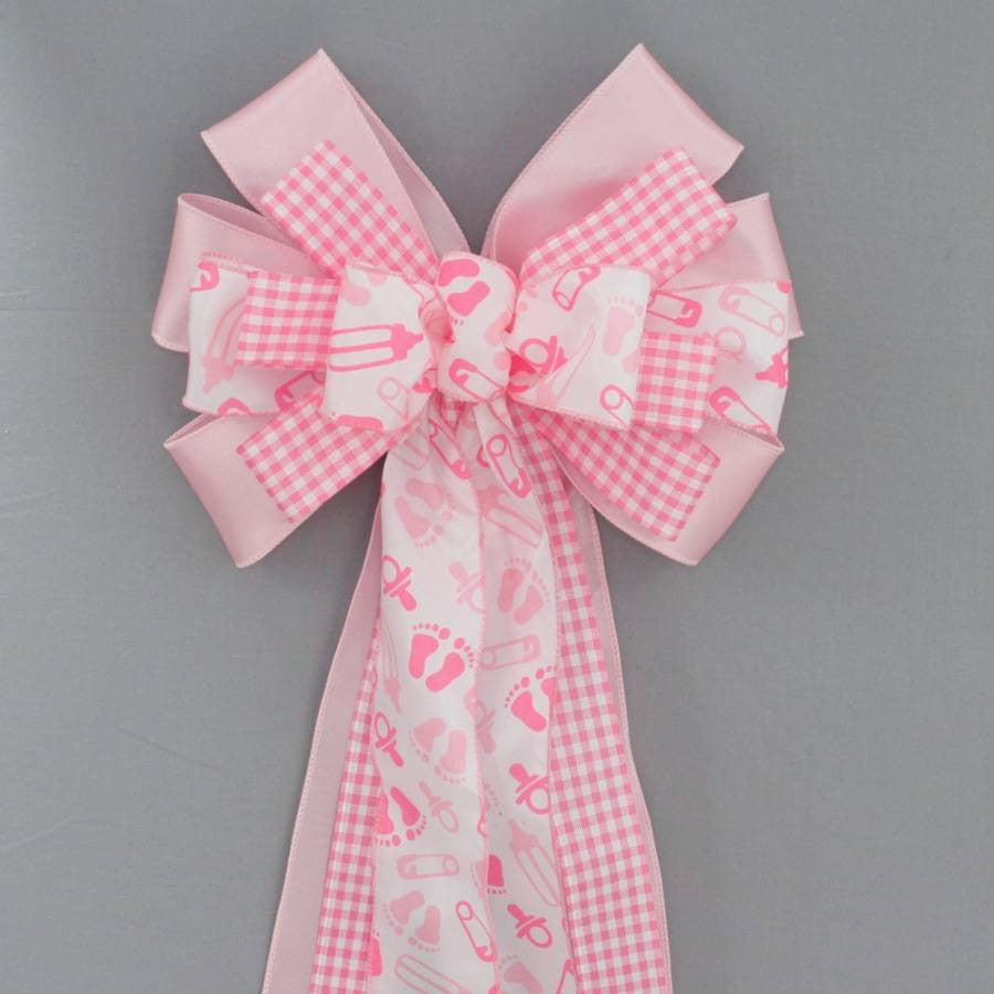 Pink Baby Feet Girl Baby Shower Bow - Package Perfect Bows - 1