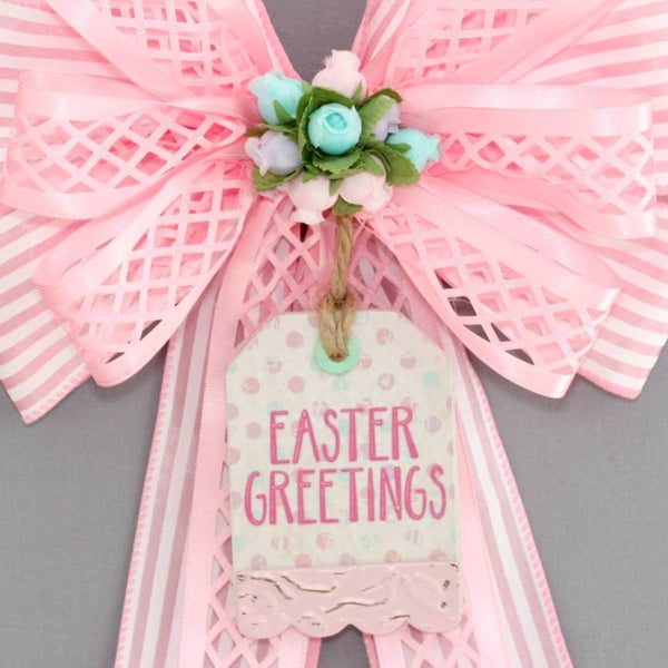 Easter Greetings Pink Stripe  Wreath Bow