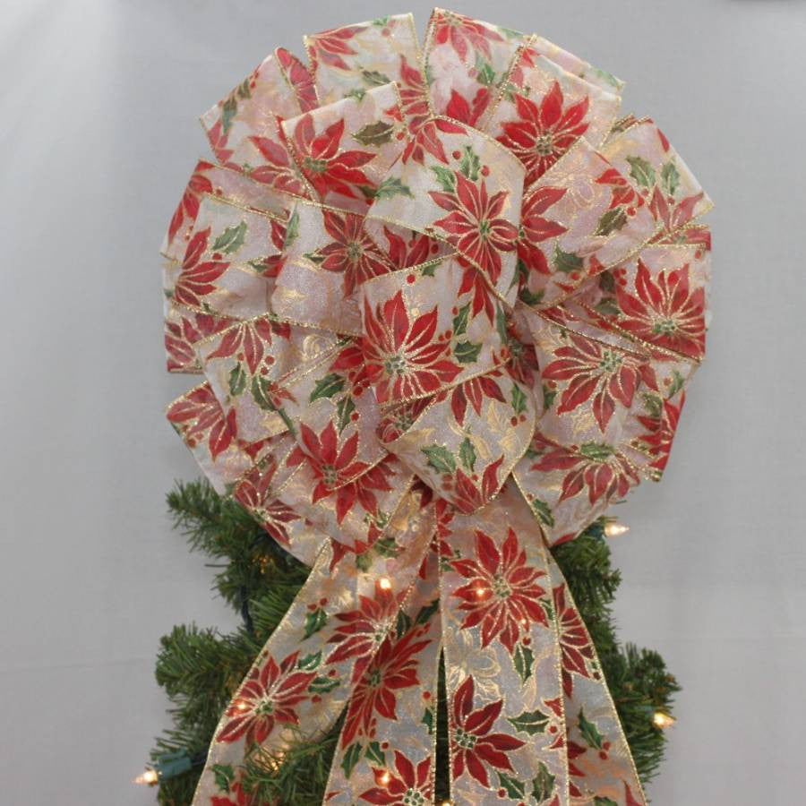 poinsettia christmas tree bow topper package perfect bows - Christmas Tree Bows