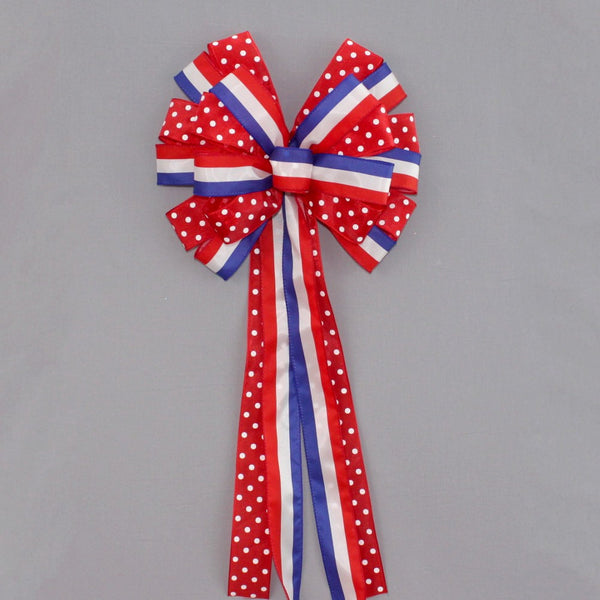 Patriotic Stripe Red Polka Dot Wreath Bow