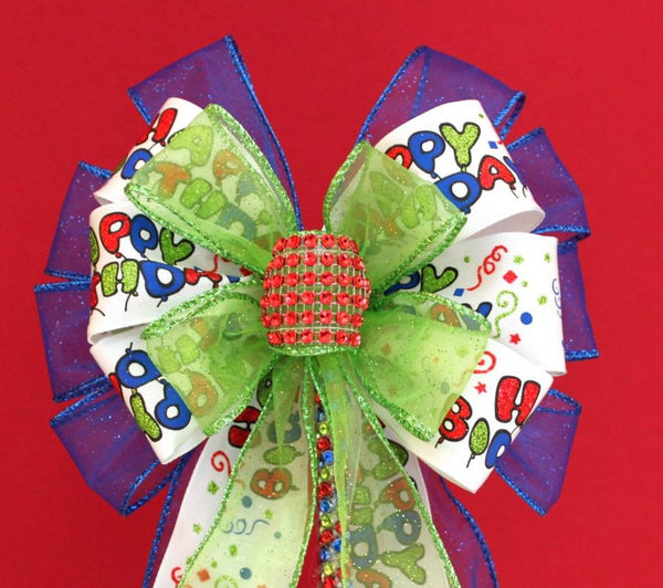 Happy Birthday Bow Cake Topper Pick - Package Perfect Bows - 1