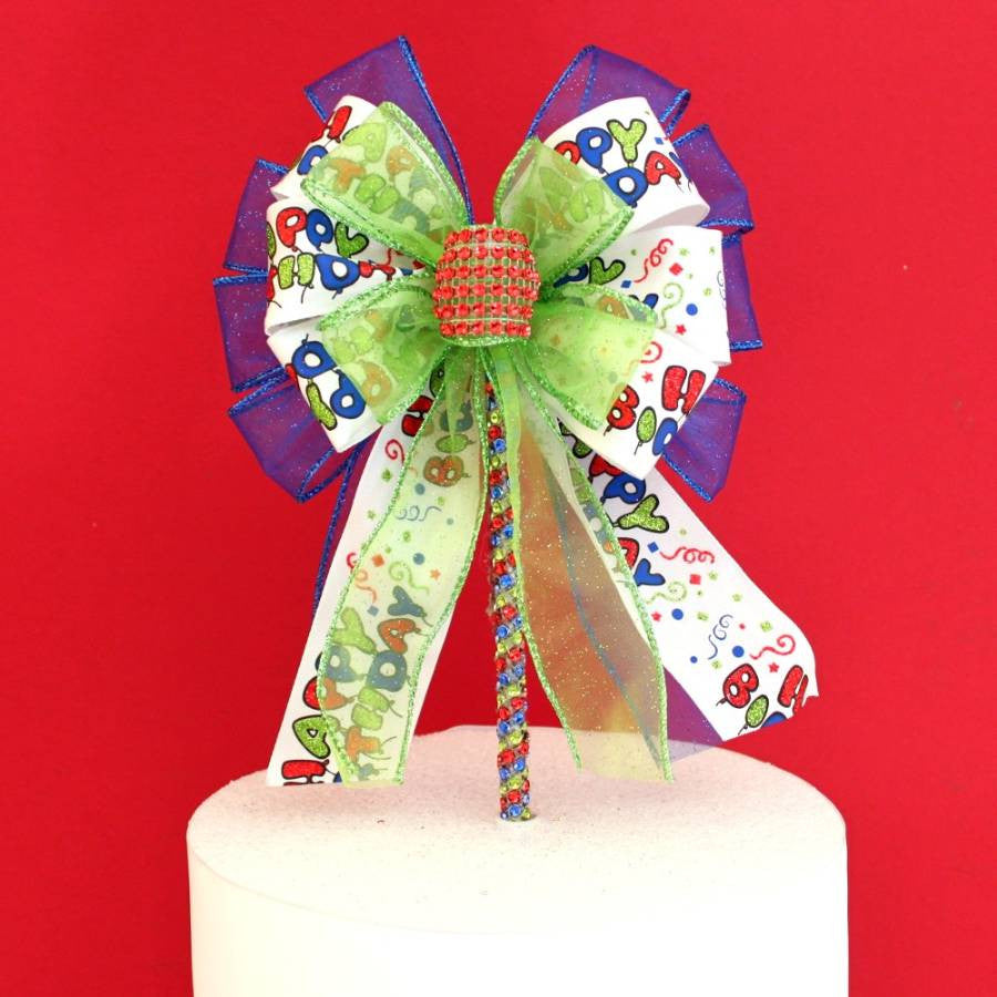 Happy Birthday Bow Cake Topper Pick - Package Perfect Bows - 3