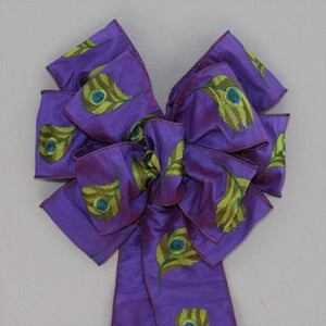 Embroidered Purple Peacock Bow - Package Perfect Bows