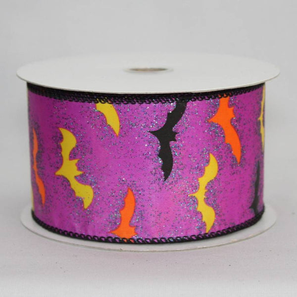 "2.5"" Sparkle Bats Halloween Wire Edge Ribbon (10 yards) - Package Perfect Bows - 1"