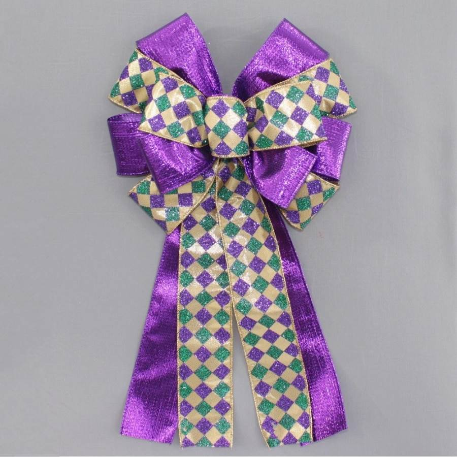 Harlequin Purple Metallic Mardi Gras Bow