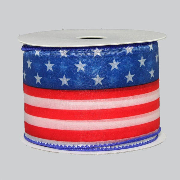 "2.5"" Red White Blue Patriotic Flag Ribbon (10 Yards) - Package Perfect Bows"