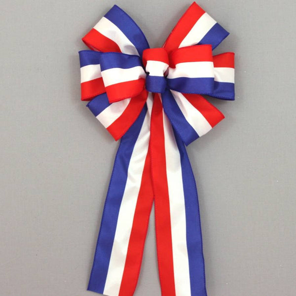 Patriotic Stripe Wreath Bow - Package Perfect Bows - 1