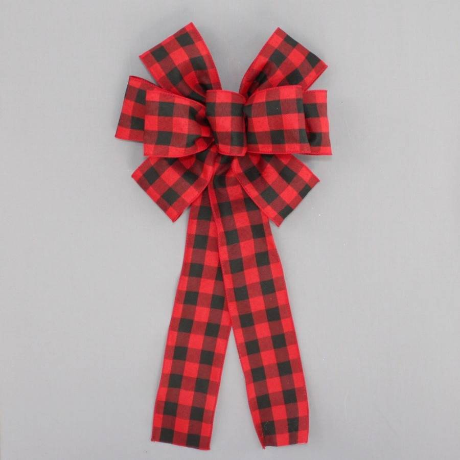 Red Black Rustic Plaid Christmas Bow - Package Perfect Bows