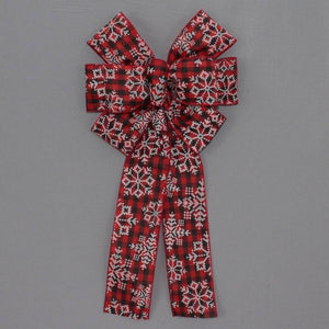 Buffalo Plaid Snowflake Christmas Bow - Package Perfect Bows - 2
