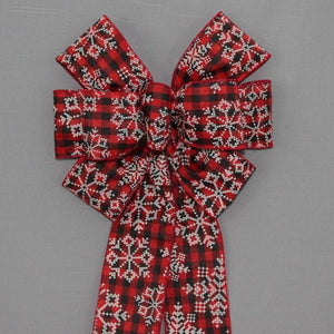 Buffalo Plaid Snowflake Christmas Bow - Package Perfect Bows - 1