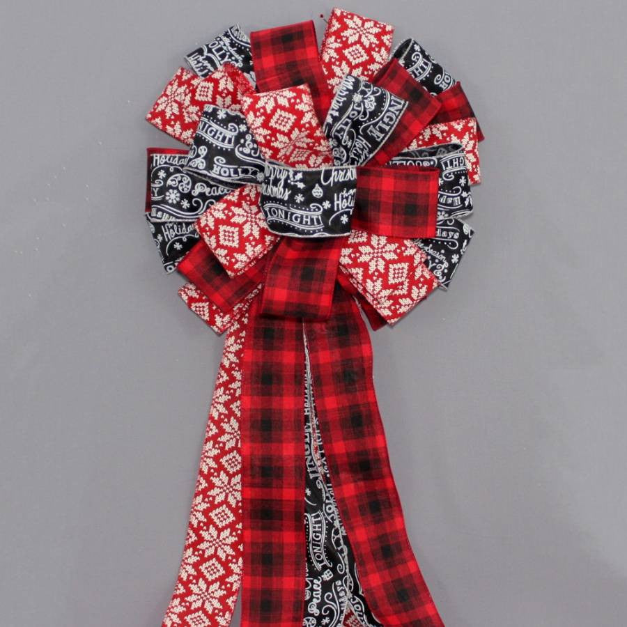 Red Black Plaid Snowflake Tree Bow Topper - Package Perfect Bows - 4