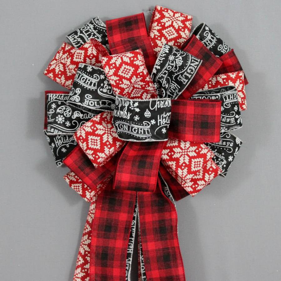 Red Black Plaid Snowflake Tree Bow Topper - Package Perfect Bows - 3