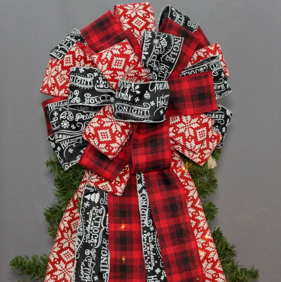 Red Black Plaid Snowflake Tree Bow Topper - Package Perfect Bows - 1