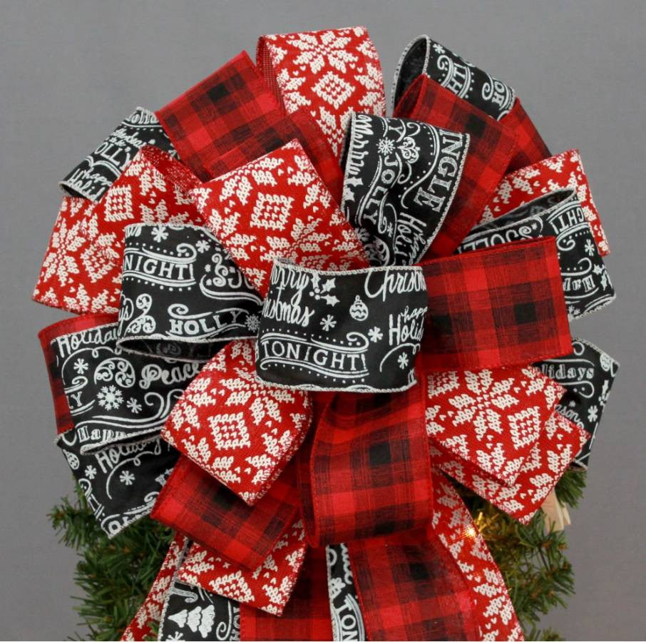 Red Black Plaid Snowflake Tree Bow Topper - Package Perfect Bows - 2
