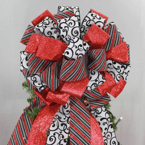 Red Sparkle Black Swirl Christmas Tree Topper Bow - Package Perfect Bows