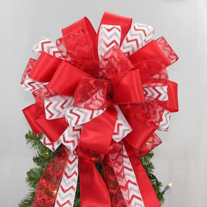 Red Silver Chevron Sparkle Christmas Bow - Package Perfect Bows