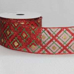 "2.5"" Red Diagonal Sparkle Plaid Wire Edge Ribbon (10 Yards) - Package Perfect Bows"
