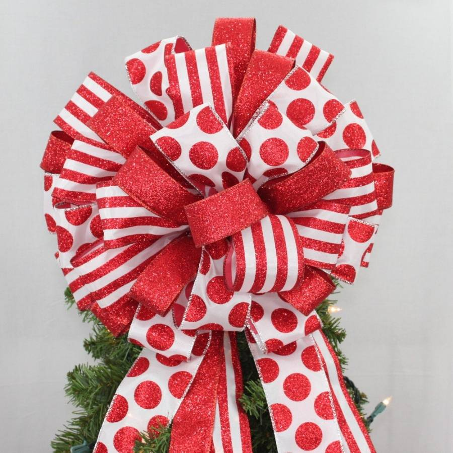 Red Dot Stripe Glitter Christmas Tree Bow Topper - 2 sizes - Package Perfect Bows