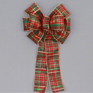 Red Emerald Green Metallic Plaid Christmas Bow - Package Perfect Bows - 2