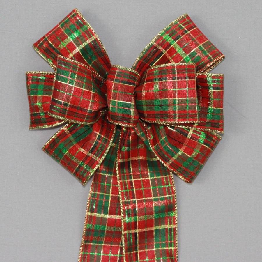 Red Emerald Green Metallic Plaid Christmas Bow - Package Perfect Bows - 1