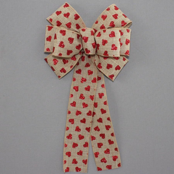Red Glitter Hearts Rustic Valentine's Day Bow